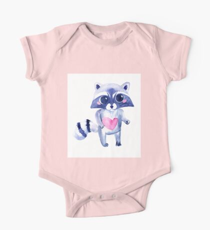 Cute raccoon animal. Watercolor One Piece - Short Sleeve