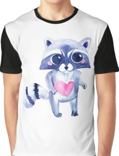 Cute raccoon animal. Watercolor Graphic T-Shirt