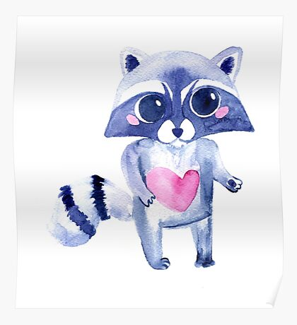 Cute raccoon animal. Watercolor Poster