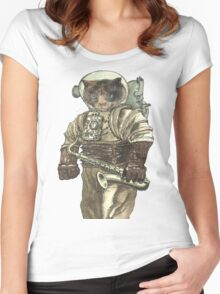Space Cat with Saxophone Women's Fitted Scoop T-Shirt
