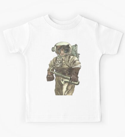 Space Cat with Saxophone Kids Tee