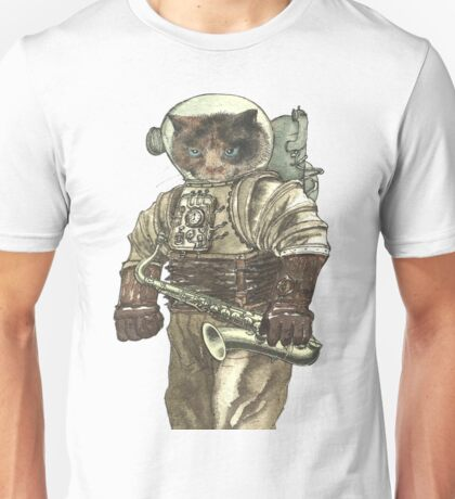Space Cat with Saxophone Unisex T-Shirt