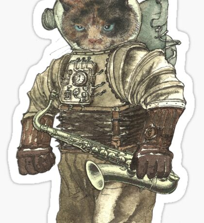 Space Cat with Saxophone Sticker