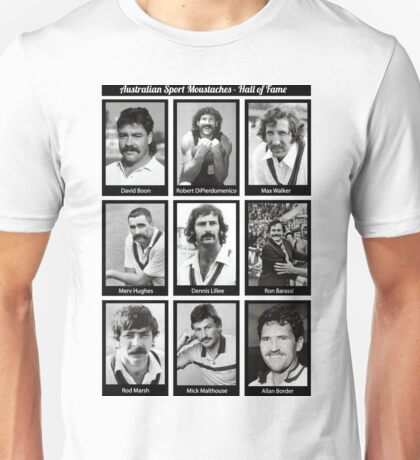 Aussie Moustache Hall of Fame by Decibel Clothing Unisex T-Shirt
