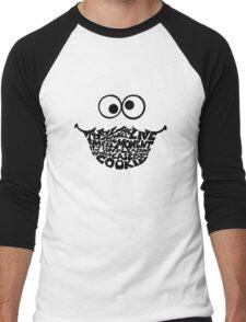 Cookie Monster Typography  Men's Baseball ¾ T-Shirt