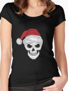 Scary Christmas Skull Women's Fitted Scoop T-Shirt
