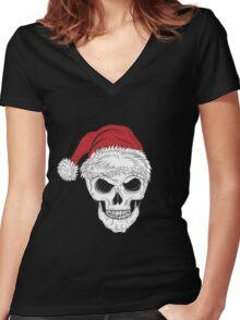 Scary Christmas Skull Women's Fitted V-Neck T-Shirt