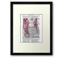 Grunge Girl Print- Pink Roses Framed Print