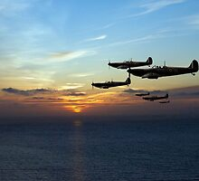 Sunset sentinels: Spitfires over the English Channel by Gary Eason + Flight Artworks