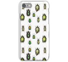 Green Gold Pattern - Set of Green Beetles iPhone Case/Skin