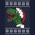 Santa T-Rex Christmas Sweater  by Rajee