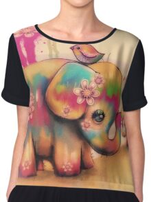 vintage tie dye elephants Women's Chiffon Top