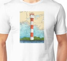 Pt Petre Lighthouse Ontario Nautical Map Cathy Peek Unisex T-Shirt