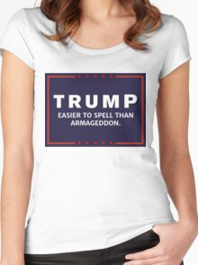 Anti-Trump Armageddon Dark Logo Women's Fitted Scoop T-Shirt