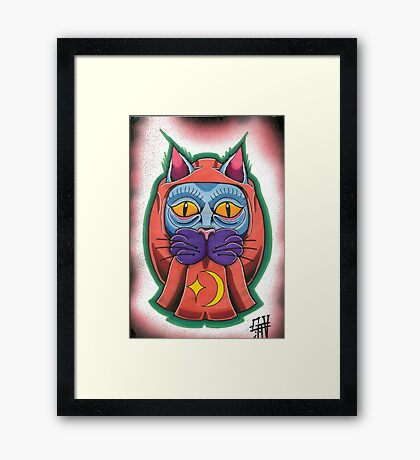 Lucky daruma cat Framed Print