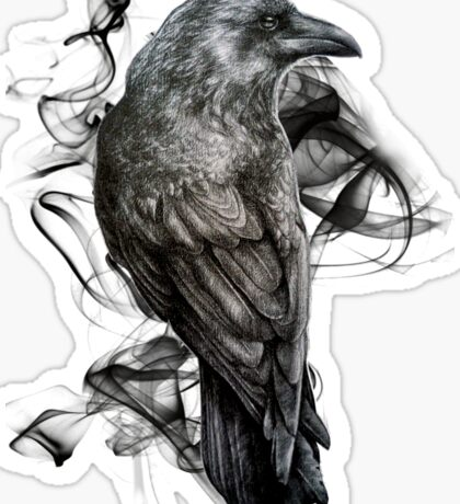 crow gothic bird raven realism drawing sketch tattoo Sticker