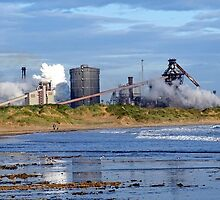 steel works on the beach at redcar by Rufus1999