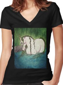 Willow Unicorn Women's Fitted V-Neck T-Shirt