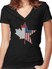 North American Connection | USA & Canada Women's Fitted V-Neck T-Shirt