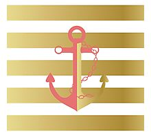AFE Nautical Pink and Gold Anchor Photographic Print