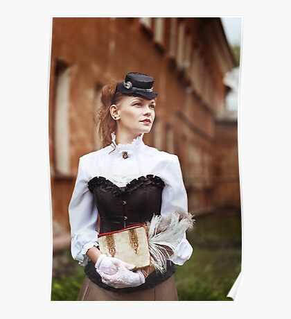 Beautiful redhair woman in vintage clothes Poster