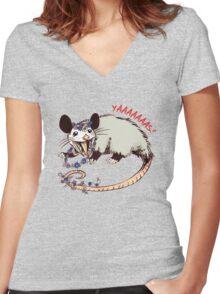 Daisy Chain Opossum Possum Yaaaas! Women's Fitted V-Neck T-Shirt