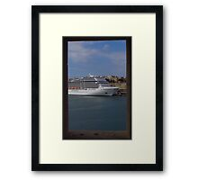 Cruise Ship, The Grand Harbour, Valletta Framed Print