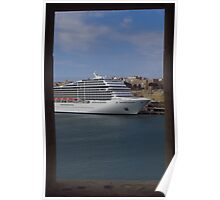Cruise Ship, The Grand Harbour, Valletta Poster