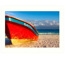 Vivid Red Boat On A Caribbean Beach - Playa del Carmen Art Print