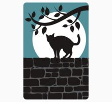 Cat on a Wall Silhouette Kids Tee