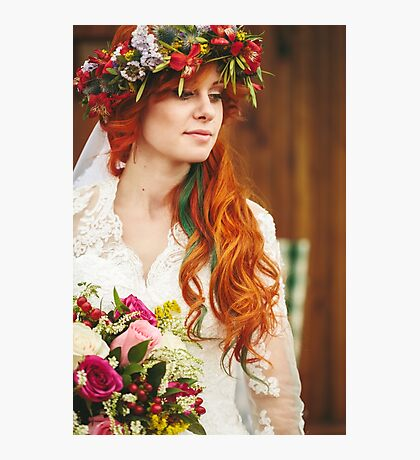 Beautiful red hair bride with flowers Photographic Print