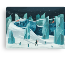 The wanderer and the ice forest Canvas Print