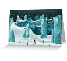 The wanderer and the ice forest Greeting Card