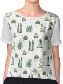 watercolour cacti and succulents Chiffon Top