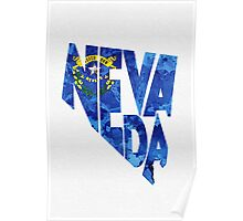 Nevada Typographic Map Flag Poster