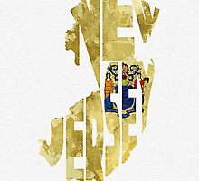 New Jersey Typographic Map Flag by A. TW