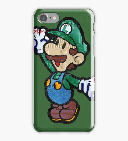 Luigi from Mario Brothers Nintendo License Plate Art Portrait iPhone Case/Skin