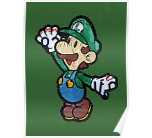 Luigi from Mario Brothers Nintendo License Plate Art Portrait Poster