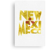 New Mexico Typographic Map Flag Canvas Print
