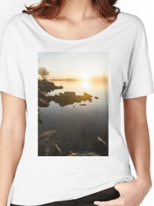 High Key Sunrise - Calm and Crystal Clear on the Shore of Lake Ontario in Toronto Women's Relaxed Fit T-Shirt