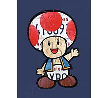 Toad from Super Mario Brothers Nintendo Recycled License Plate Art Portrait Photographic Print