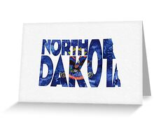North Dakota Typographic Map Flag Greeting Card