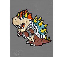 Bowser from Super Mario Brothers Nintendo Recycled License Plate Art Portrait Photographic Print