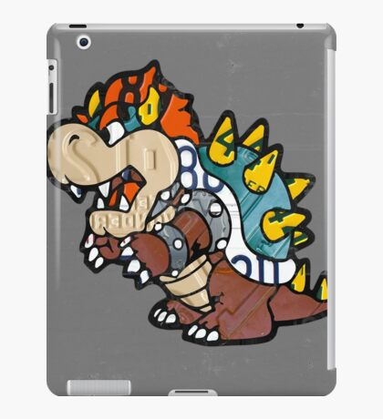 Bowser from Super Mario Brothers Nintendo Recycled License Plate Art Portrait iPad Case/Skin
