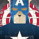 Captain America Superhero Recycled License Plate Art by designturnpike