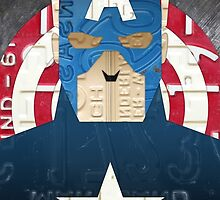 Captain America Superhero Recycled License Plate Art by designturnpike