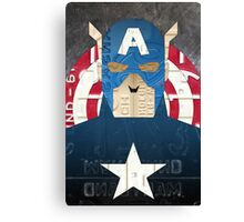 Captain America Superhero Recycled License Plate Art Canvas Print