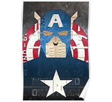 Captain America Superhero Recycled License Plate Art Poster