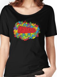 Abstract colorful geometry shapes elements background. Decorative planes. Inscription Destroy Women's Relaxed Fit T-Shirt