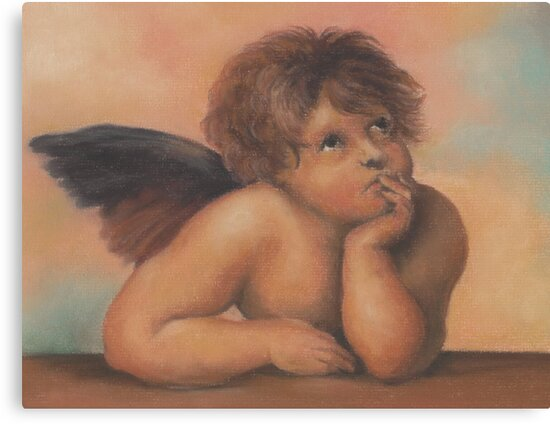 Cherub in pastels 2, after Raphael by Pam Humbargar